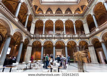 VIENNA, AUSTRIA - SEPTEMBER 27, 2015: people in MAK - Austrian Museum of Applied Arts. In 1863 Emperor Franz Joseph approved the establishment of the? museum after model of South Kensington Museum - stock photo