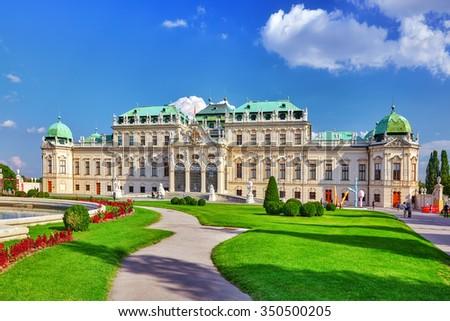 VIENNA, AUSTRIA-SEPTEMBER 10, 2015: Upper Belvedere. Main palace complex Belvedere.Vienna. Austria. - stock photo