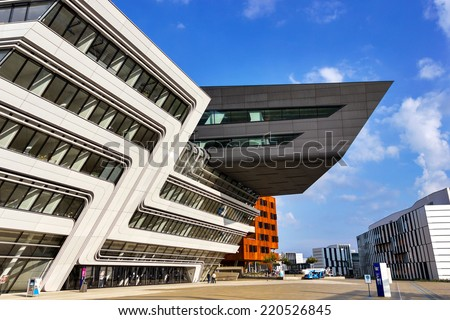 VIENNA, AUSTRIA, SEPTEMBER 29, 2014: Vienna University of Economics and Business. Futuristic architecture designed by architect Zaha Hadid. Exterior detail. - stock photo