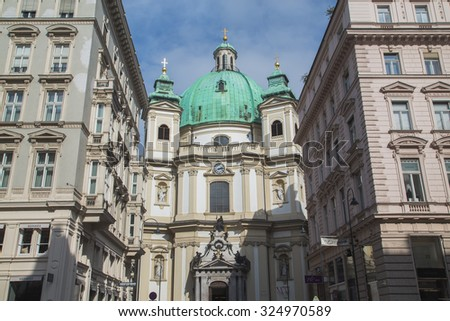VIENNA, AUSTRIA - 27TH JULY 2015: The outside of the Catholic Church of St. Peter in Vienna during the day from the Graben - stock photo