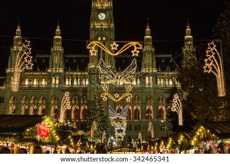 VIENNA, AUSTRIA - 17TH NOVEMBER 2015: Stalls at the Christmas Market at Rathaus in Vienna at Christmas - stock photo