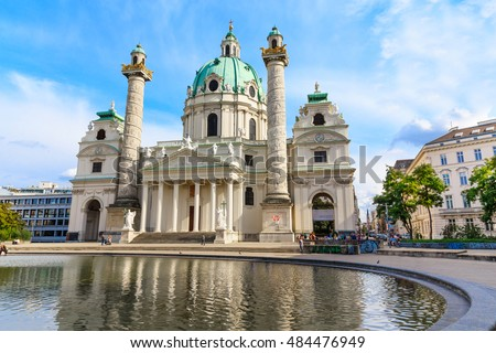 Vienna capital of a Europe country Austria. Karlskirche cathedral