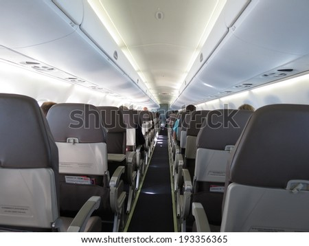 VIENNA, CIRCA SEPTEMBER 2013: seats in the interiors of an aircraft of the Air Berlin company