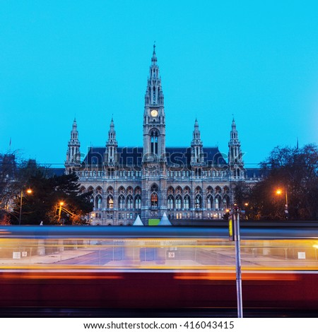 Vienna City Hall and blurred tramway. Vienna, Austria. - stock photo