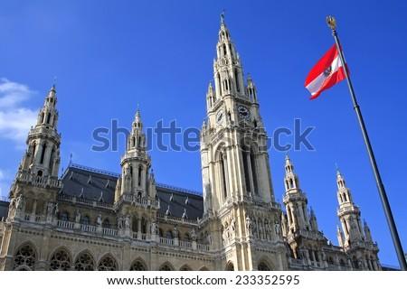 Vienna City Hall with austrian flag - stock photo