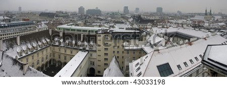 Vienna - city roofs seen from the top of Stephansdom tower - stock photo
