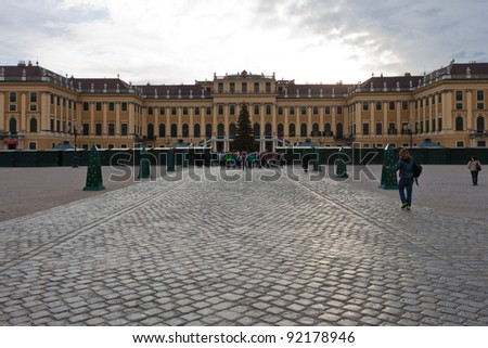 VIENNA - DECEMBER 21: Schonbrunn Palace at Christmas on December 21, 2011. Schonbrunn Palace was the imperial summer residence. During Christmas there is a market in front of the Palace.