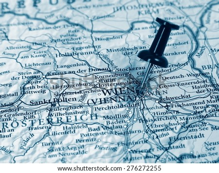 Vienna destination in the map - stock photo