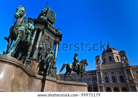 Vienna - Empress Maria Theresia Monument near Natural and Art History Museums, Austria - stock photo