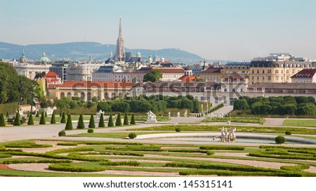 Vienna - gardens of Belvedere palace in morning and the town