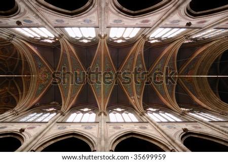 Vienna Gothic church interior - stock photo