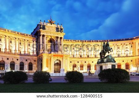 Vienna Hofburg Imperial Palace at night, - Austria - stock photo