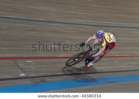 VIENNA - JANUARY 12: Indoor track cycling meeting - Adam Ptacnik (Czech Republic) places third in the men's sprint event on January 12, 2010 in Vienna, Austria. - stock photo