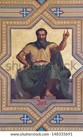 VIENNA - JULY 27: Fresco of Amos prophets by  Carl von Blaas from 19. cent. in Altlerchenfelder church on July 27, 2013 Vienna.  - stock photo