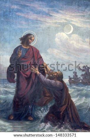 VIENNA - JULY 27: Fresco of Drowned Peter and Jesus  in Altlerchenfelder church from 19. cent. on July 27, 2013 Vienna.  - stock photo