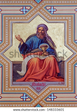 VIENNA - JULY 27: Fresco of Malachi prophets from 19. cent. by Carl Mayer in Altlerchenfelder church on July 27, 2013 Vienna.  - stock photo