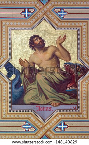 VIENNA - JULY 27:  Fresco of prophet Jonah by Carl Mayer from 19. cent. in Altlerchenfelder church on July 27, 2013 Vienna.  - stock photo