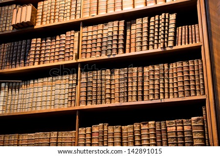 VIENNA - MAY 30: Large bookcase with the leather-bound books in the old Austrian National Library on 30 May, 2013 in Austria. The largest library in Austria with 7.4 million items in its collections. - stock photo