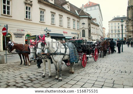 VIENNA - OCTOBER 18: Tourists enjoy their horse-drawn carriage ride on October 18, 2012 in Vienna. As of 2008, Vienna was the 20th most visited city worldwide (by international visitors). - stock photo