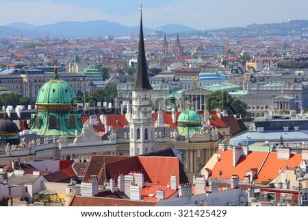 Vienna Old Town in Austria. Aerial view cityscape. - stock photo