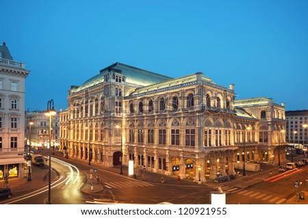 Vienna Opera House at night. - stock photo
