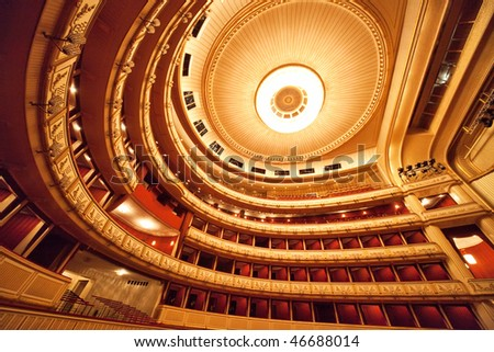 Vienna opera interior. Wide angle view.