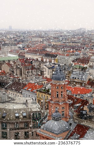 Vienna rooftops cityscape with snow - stock photo
