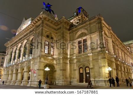Vienna's State Opera House at night, Austria - stock photo
