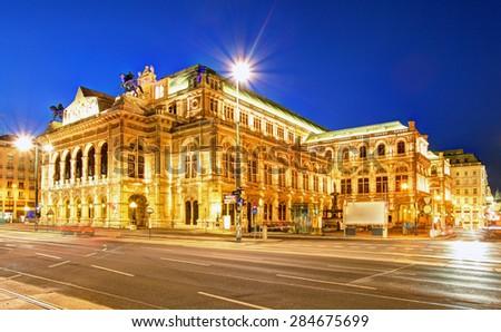 Vienna 's State Opera House at night, Austria - stock photo