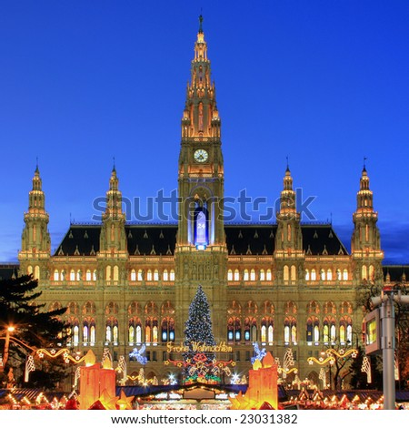 Vienna's Town Hall (Rathaus) with Christmas Market in front (HDR image) - stock photo