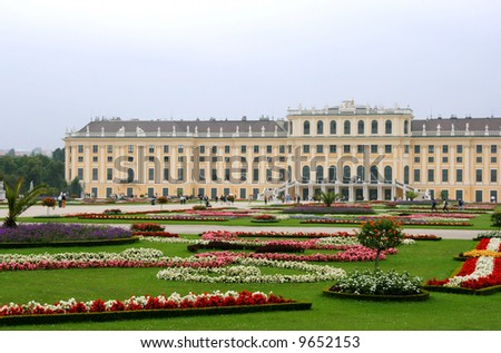 Vienna - Schonbrunn palace. Famous landmark and its gardens.