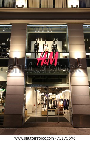 VIENNA - SEPTEMBER 6: H&M store on September 6, 2011 in Vienna. H&M is an international fashion retail corporation known for its fast fashion approach. Founded in 1947, it employs 87,000 people (2011)