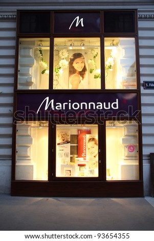 VIENNA - SEPTEMBER 4: Marionnaud perfumery on September 4, 2011 in Vienna. The company founded in 1984 employs 7000 people (2009) and has 1234 branches in 13 countries.