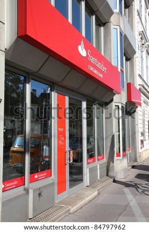VIENNA - SEPTEMBER 6: Santander Bank branch on September 6, 2011 in Vienna. Santander Bank is the largest in Eurozone according to Financial Times Global 500.