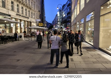 VIENNA - SEPTEMBER 6: Tourists visit famous Karnter Strasse on September 6, 2011 in Vienna. Vienna which is the 20th most visited city worldwide (international visitors 2008). - stock photo