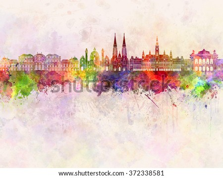 Vienna skyline in watercolor background - stock photo
