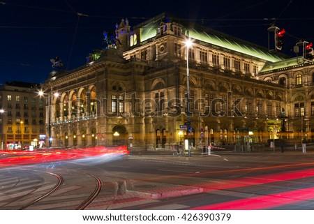 Vienna state opera at night, Vienna, Austria - stock photo