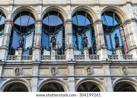 Vienna State Opera (Vienna Court Opera, Wiener Hofoper) is considered one of the most important opera houses in the world. Austria. Sculptural composition of the main entrance. - stock photo