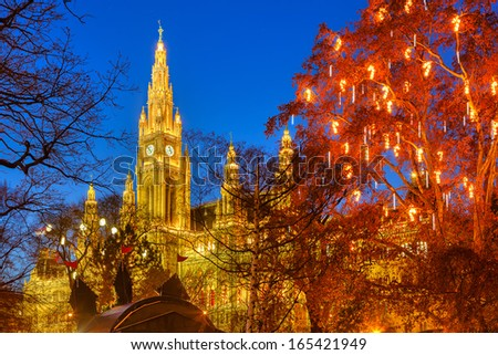 Vienna Town Hall and park decorated for Christmas - stock photo
