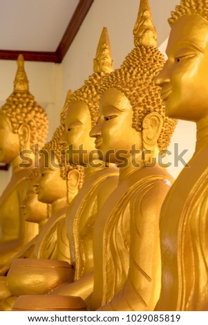 Vientiane Laos February 17, 2018 Buddha images at That Luang Tai