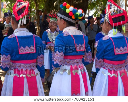 Vientiane Province, Laos - December 23, 2017: Hmong Girls wearing the Hmong traditional clothes during the Hmong New Year celebration in KM 52 Village.