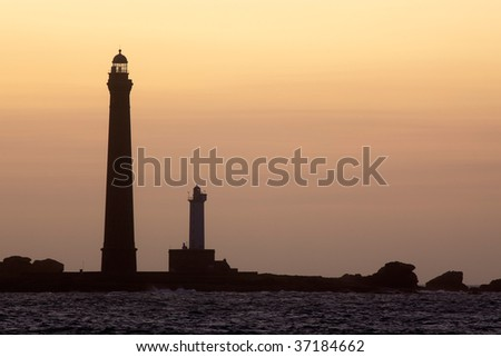 vierge island lighthouse at dusk brittany france
