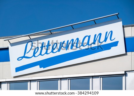 VIERSEN / GERMANY - MARCH 01 : Lettermann company sign in the sun