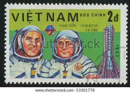 VIET NAM - CIRCA 1983: stamp printed by Viet Nam,  shows astronauts Gorbatko, Tuan, circa 1983 - stock photo