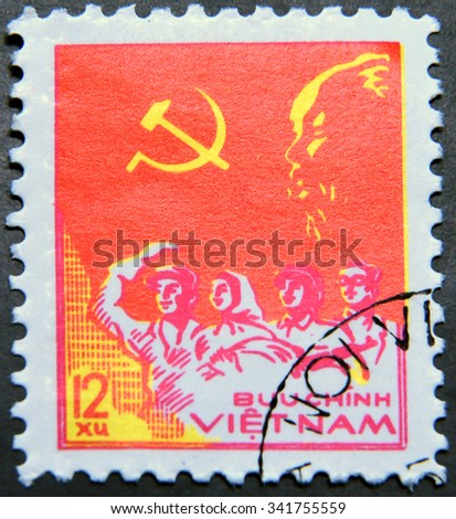 "VIETNAM - CIRCA 1978: A postage stamp of Vietnam from the ""33rd Anniversary of Proclamation of Vietnam Democratic Republic "" issue shows Worker, Peasant, Soldier and Intellectual - stock photo"