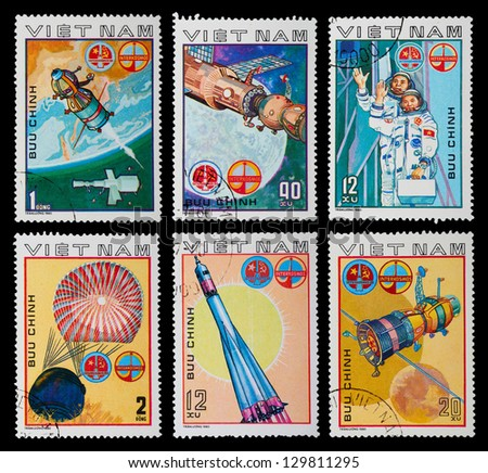 VIETNAM - CIRCA 1980: A set of postage stamps printed in VIETNAM shows cosmos, series, circa 1980