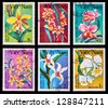 VIETNAM - CIRCA 1984: A set of postage stamps printed in VIETNAM shows flowers, series, circa 1984 - stock photo