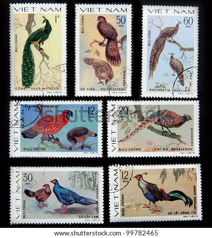 VIETNAM - CIRCA 1978: A set of 7 stamps printed in Vietnam shows the diverse collection of birds, circa 1978