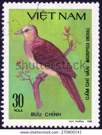 "VIETNAM - CIRCA 1980 : A stamp printed by Vietnam shows bird , from the series ""Songbirds"" , circa 1980 - stock photo"