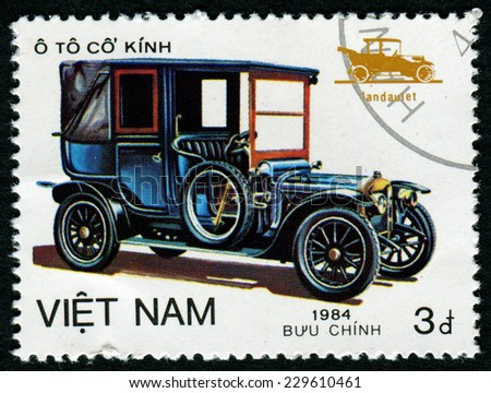 VIETNAM - CIRCA 1984: A stamp printed by VIETNAM shows old car, series, circa 1984